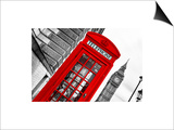 Red Phone Booth in London with the Big Ben - City of London - UK - England - United Kingdom Posters by Philippe Hugonnard