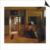 Interior with a Mother Delousing Her Child's Hair (A Mother's Dut), 1659-1660 Poster by Pieter de Hooch