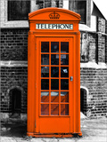 Red Phone Booth in London painted Orange - City of London - UK - England - United Kingdom - Europe Prints by Philippe Hugonnard