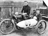 FW Dixon on a Harley-Davidson, with a Passenger in the Sidecar, 1921 Posters