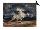 Cheval effrayé par les éclairs Poster par Eugène Delacroix