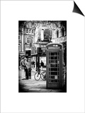Loving Couple Kissing and Red Telephone Booth - London - UK - England - United Kingdom - Europe Print by Philippe Hugonnard