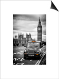 London Taxi and Big Ben - London - UK - England - United Kingdom - Europe Art by Philippe Hugonnard