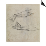 Studies of an Outstretched Arm for the Fresco the Drunkenness of Noah, C.1508 Prints by  Michelangelo Buonarroti