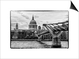 Millennium Bridge and St. Paul's Cathedral - City of London - UK - England - United Kingdom Prints by Philippe Hugonnard
