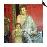 Fresco Detail, Young Girl Reading, 1st Century BC Art