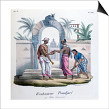 Outside a Temple, India, 1828 Prints by  Marlet et Cie