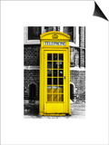 Red Phone Booth in London painted Yellow - City of London - UK - England - United Kingdom - Europe Prints by Philippe Hugonnard