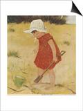 The First Sand Castle by Muriel Dawson Print by Muriel Dawson