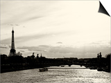 Barge on the River Seine with Views of the Eiffel Tower and Alexandre III Bridge - Paris - France Prints by Philippe Hugonnard