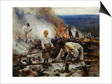 Under the Yoke (Burning the Brushwoo) Prints by Eero Jarnefelt