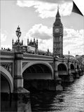View of Big Ben from across the Westminster Bridge - Thames River - City of London - UK - England Prints by Philippe Hugonnard