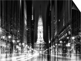 Urban Stretch Series - City Hall and Avenue of the Arts by Night - Philadelphia - Pennsylvania Poster by Philippe Hugonnard