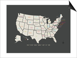 Black Map USA Posters by Rebecca Peragine