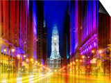 Urban Stretch Series - City Hall and Avenue of the Arts by Night - Philadelphia - Pennsylvania Prints by Philippe Hugonnard