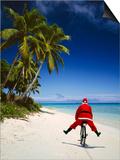 Father Christmas on Bicycle Prints