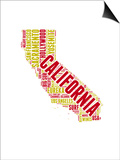 California Word Cloud Map Poster by  NaxArt