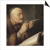Scholar Sharpening a Quill Pen Print by Gerard Dou