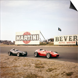 Two Racing Cars Taking a Bend, Dutch Grand Prix, Zandvoort, Holland, 1959 Posters