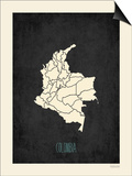 Black Map Colombia Poster by Rebecca Peragine