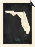 Black Map Florida Posters by Rebecca Peragine