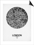 London Street Map Black on White Prints by  NaxArt