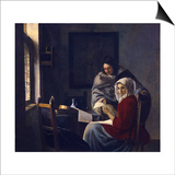 Girl Interrupted at Her Music, C. 1660 Prints by Jan Vermeer