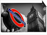 Big Ben and Westminster Station Underground - Subway Station Sign - City of London - UK - England Print by Philippe Hugonnard