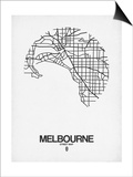 Melbourne Street Map White Prints by  NaxArt