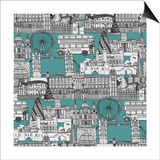 London Toile Blue Print by Sharon Turner