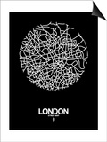 London Street Map Black Prints by  NaxArt