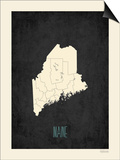 Black Map Maine Posters by Rebecca Peragine