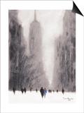 Heavy Snowfall, 5th Avenue - New York Art by Jon Barker