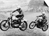 Two Motorcyclists Taking Part in Motocross at Brands Hatch, Kent Art