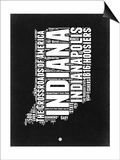 Indiana Black and White Map Prints by  NaxArt
