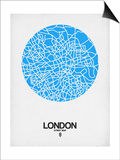 London Street Map Blue Print by  NaxArt