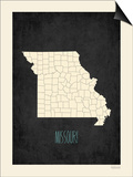 Black Map Missouri Posters by Rebecca Peragine