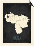 Black Map Venezuela Posters by Rebecca Peragine