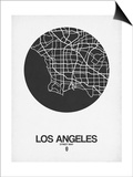 Los Angeles Street Map Black on White Art by  NaxArt