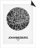 Johannesburg Street Map Black on White Prints by  NaxArt