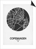 Copenhagen Street Map Black on White Poster by  NaxArt