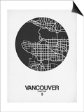 Vancouver Street Map Black on White Poster by  NaxArt