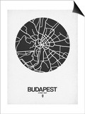 Budapest Street Map Black on White Posters by  NaxArt