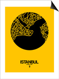 Istanbul Street Map Yellow Print by  NaxArt