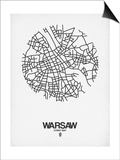 Warsaw Street Map White Prints by  NaxArt