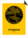 Stockholm Street Map Yellow Prints by  NaxArt