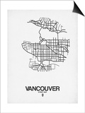 Vancouver Street Map White Prints by  NaxArt