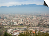 Overview of Santiago from Atop Cerro San Cristobal at Parque Metropolitano De Santiago Art by Kimberly Walker