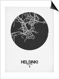 Helsinki Street Map Black on White Posters by  NaxArt