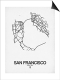 San Francisco Street Map White Prints by  NaxArt